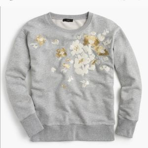 J. Crew // Floral Embroidered Gold Grey Pullover